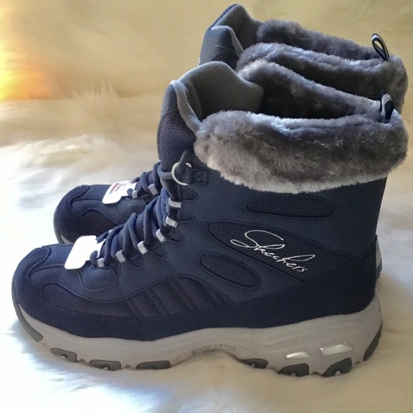 Skechers Blue D'lites Chalet Faux Fur Collar Winter Boot